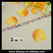 DH-RT0249 colorful pearls planted on organza ribbon trim for garment decoration