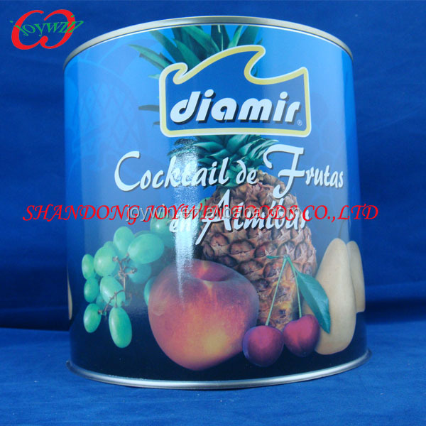 Canned fruit cocktail in syrup, ingredients in food preservation