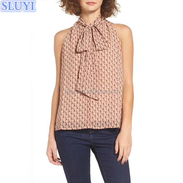 plus size shirt and blouses for elegant women bangkok summer sleeveless tie neck back neck chiffon indian blouse designs