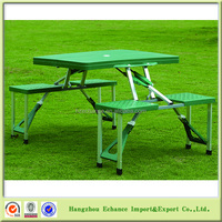 Green ABS table and aluminum leg folding picnic table set for camping time