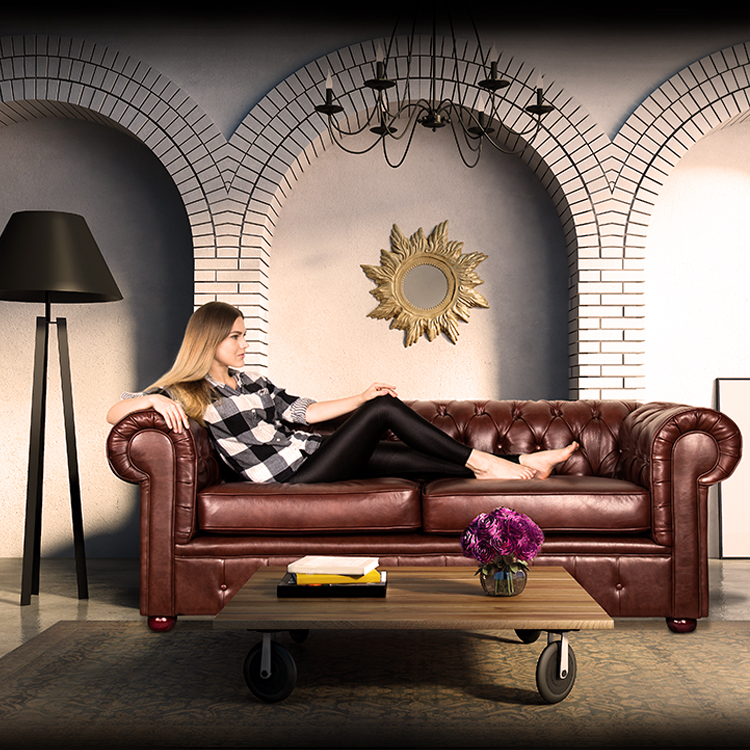Leather Chesterfield <strong>Sofa</strong> With Storage Ottoman ST63