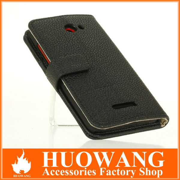 new arrival leather flip case for htc butterfly x920e