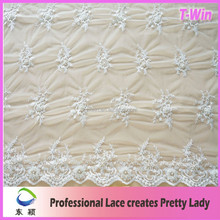White Bridal Embroidered Net Lace Fabric Foil For Wedding Dress