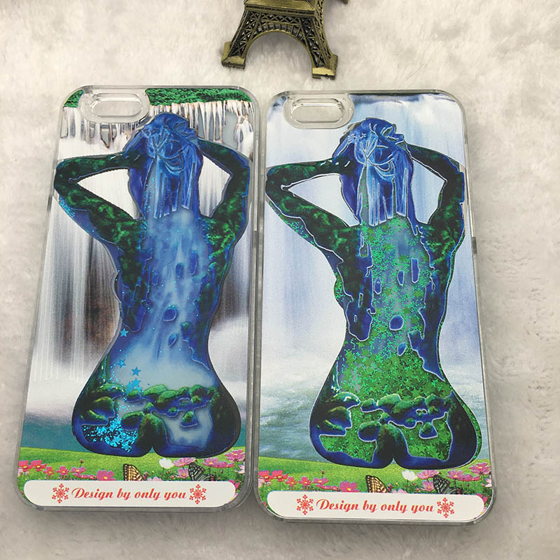 New Arrival Sexy Girl Mob Phone Case For iPhone5 6 6 Plus 6s Fluorescence Noctilucent Luminous Liquid Quicksand PC Cover