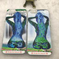 New Arrivial Sexy Girl Mob Phone Case For iPhone5 6 6 Plus 6s Fluorescence Noctilucent Luminous Liquid Quicksand PC Cover