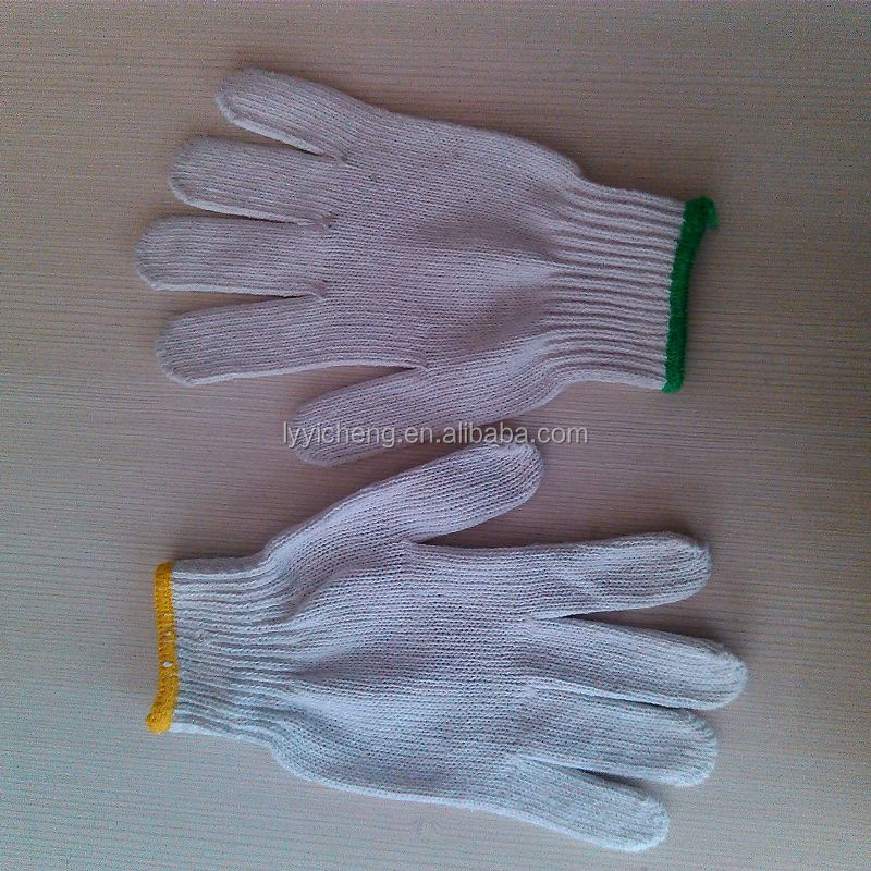 7/10 gauge white knitted cotton gloves manufacturer in china/gloves with silicone grips
