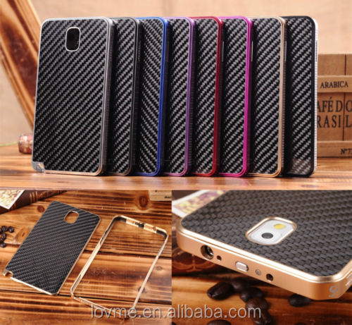 Luxury Aluminum Metal Carbon Fiber Cover Case For Samsung Galaxy Note3 N9000