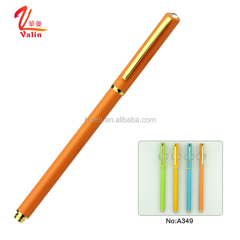 Orange metal pen colorful slim gel ink ball pen