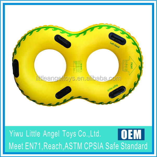 OEM inflatable double swim ring with handle