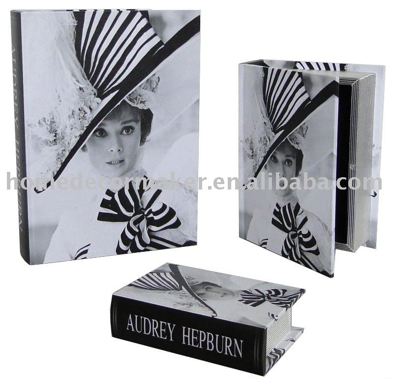Audrey Hepburn Design Book Box Antique Wooden Storage Box