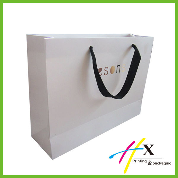 large white paper shopping bag with cotton handle