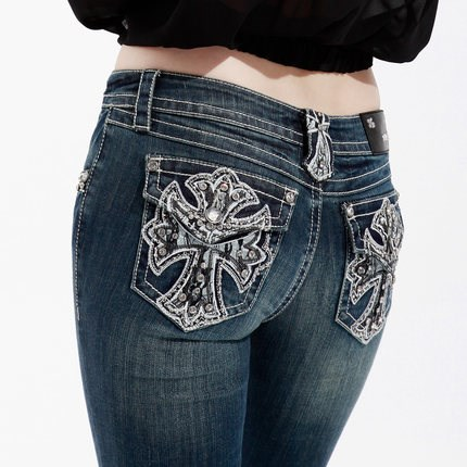 Attractive Design Embroidery jeans Wholesale China Customized me Miss Chic women Jeans with rhinestone rivets