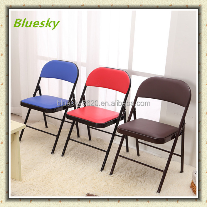 Modern Stackable PU leather Metal Folding Chair