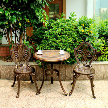 New design high quality picnic table benches kits coffee shop cast aluminum chair and table garden table chair set
