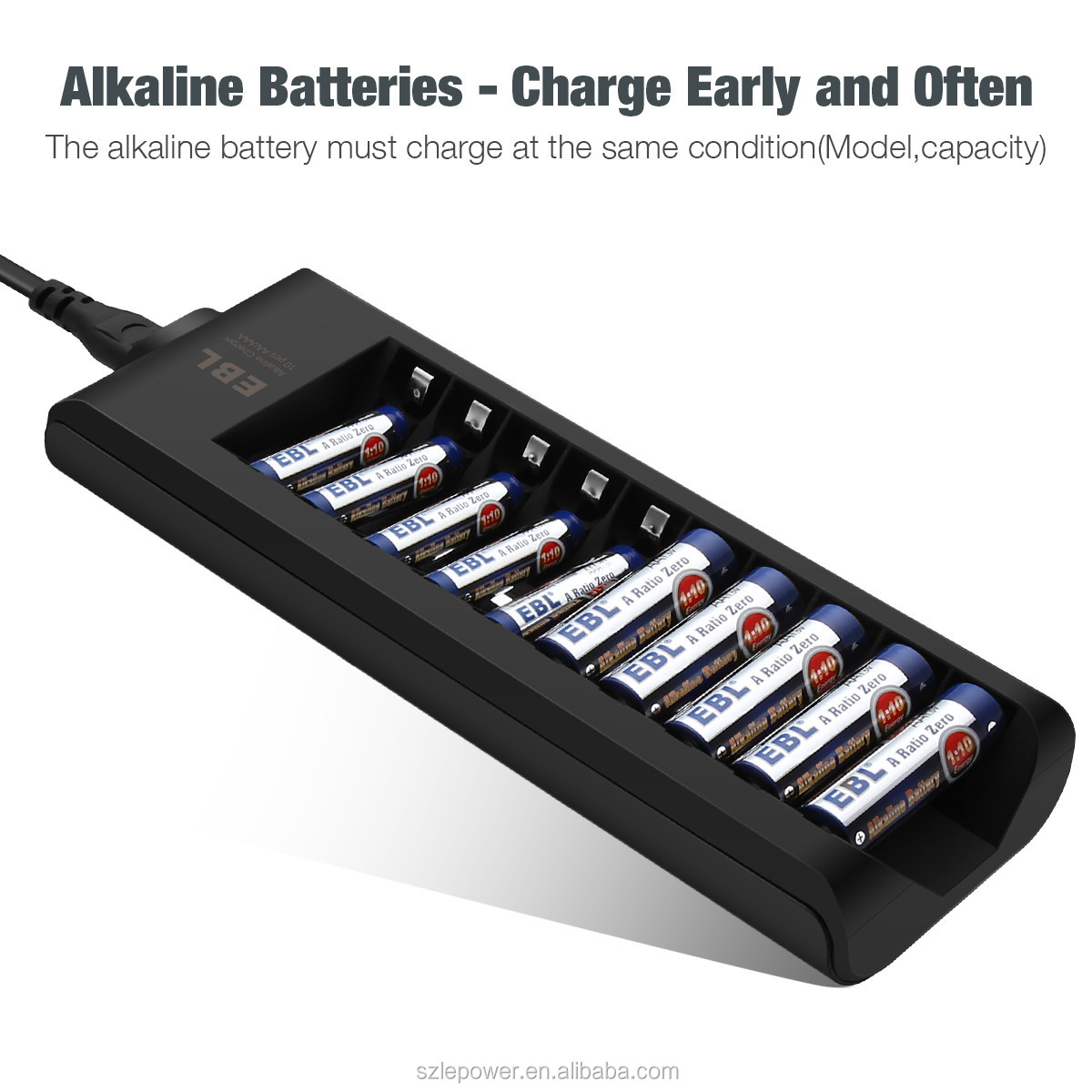 Quick Charge Alkaline Battery Charger 10 Slot for AA AAA Alkaline Dry Battery