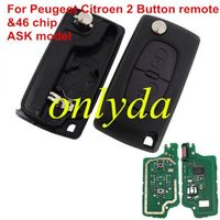 For Citroen 2 Button Flip Remote Key with 46 chip ASK model VA2/HU83 blade