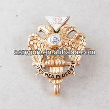 Vintage MASONIC 14K GOLD & DIAMOND LAPEL PIN PENDANT Eagle 32 Scottish Rite