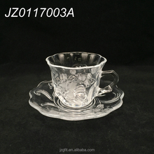 Wholesale 200ml flower shape glass tea cup&saucer, turkish glass tea cup&saucer, glass coffee mug