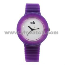 Purple color plastic case with silicon band watches