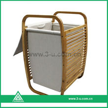 solid round bamboo laundry basket