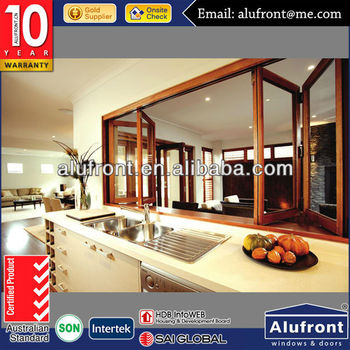 aluminium wood kitchen folding window