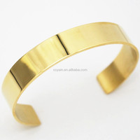 18K gold cuff bangle blanks stainless steel plated plain gold cuff bangle band