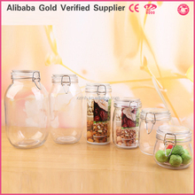 Clear glass food storage airtight container/jar/box/canister with clip lid