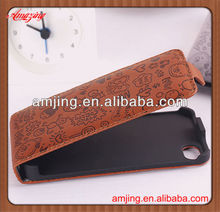 Factory price leather case for iphone 4 with magnetic flip