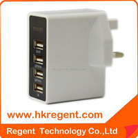 Regent high quality hot selling customerization 4.5a micro multi port 4 usb cable wall charger with led