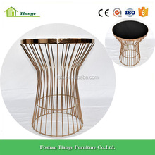 New Classic Design Living Room Furniture Wire Mesh Metal Glass Side Table in Rose Gold Finish