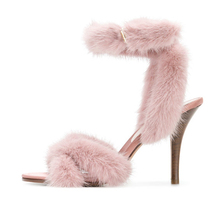 2018 spring collection cute pink real fur women shoes high heels fashion wear sandals ladies party shoes