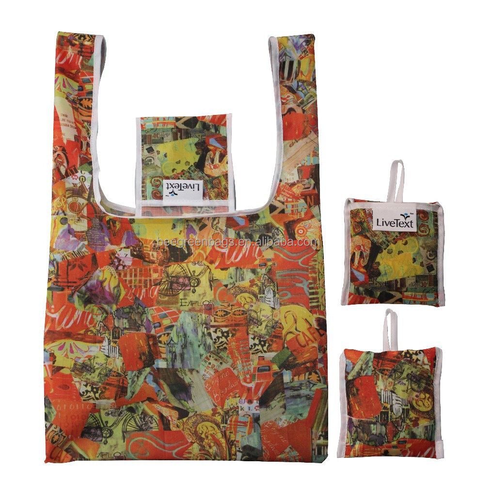Full color gas sublimation printing 210T Ripstop Polyester Foldable Tote Bag With Square Pouch