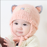 winter baby hat baby wool hats for men and women children warm knit cap wind ear muffs head cap