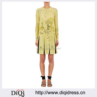 Customized Lady Apparel Fashion Long Sleeves Animal-print Stretch-silk Shift Dress(DQM011D)
