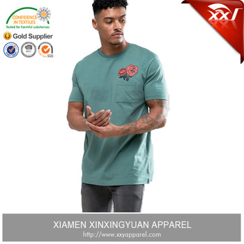 oem apparel trend t shirt mens casual shirt 2017 elastane shirt men with the chest pocket and rose print