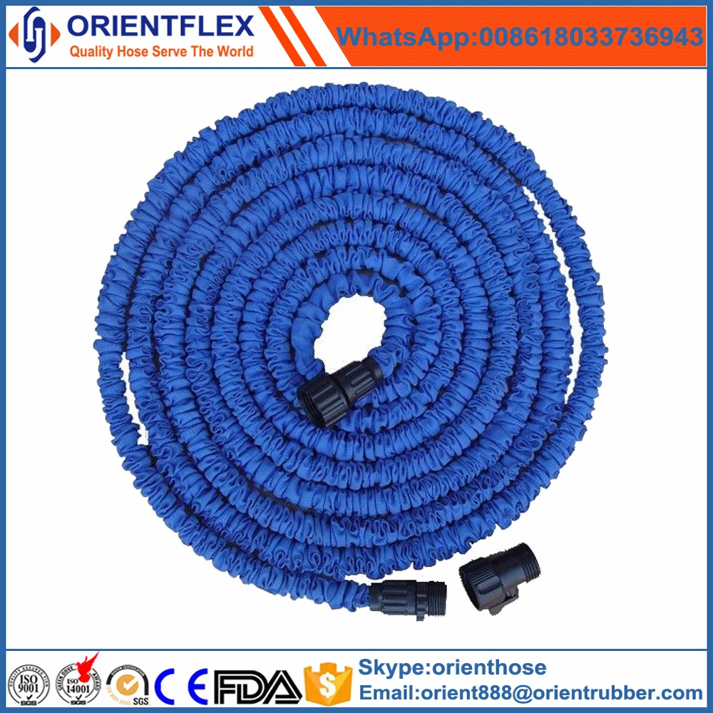 Shrinking roll flat heated expansible garden hose