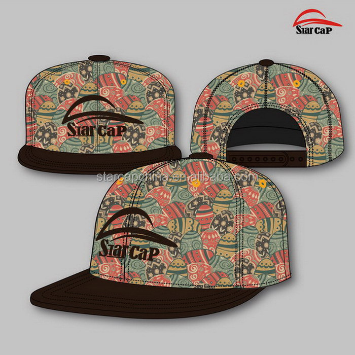 CUSTOM NEW DESIGN FLORAL PRINTING LEATHER SNAPBACK HAT