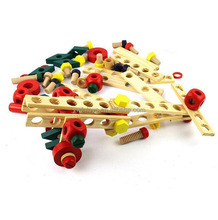 Kids creative handcraft assemble toys intelligent funny aircraft wooden blocks