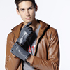 three lines stiching contrast color man leather gloves gentlemen style