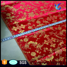 Polyester vestment metallic brocade fabric for church
