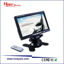 Good Brightness 7 inch 4:3/16:9 Headrest 2AV LCD Monitor For Car / CCTV