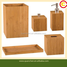 Modern Complete Bamboo Bathroom Accessory Set