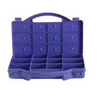 Deep blue plastic tool box for fasteners anchors screws
