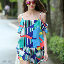 graphic shoulder-strap chiffon women's blouse
