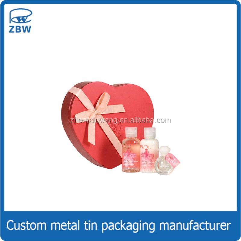 Heart shape hand cream gift tin box package/new shape perfume tin box for cosmetic