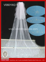 2015 Luxury sequin and bead pattern with sparkling rhinestone long bridal veil trim