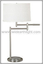 UL CUL Listed White Drum Shade Bedside Swing Arm Desk Lamp In Nickel Finish T40092