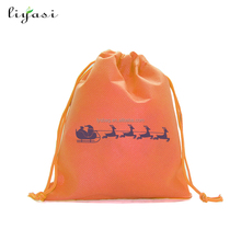 Cheap non-woven fabric drawstring christmas candy bag