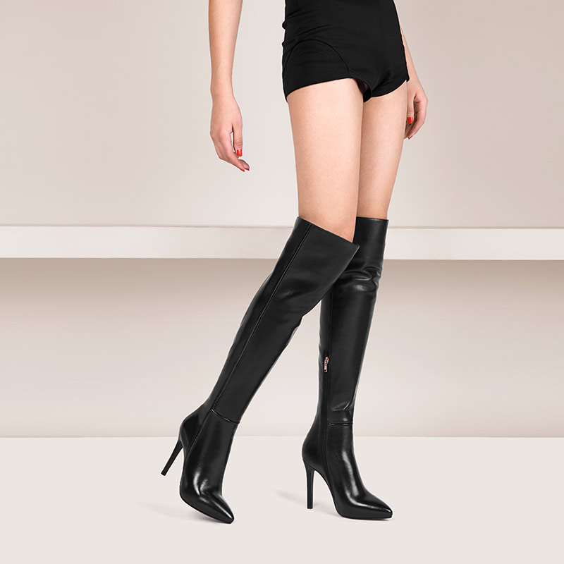 9473 New fashion Genuine leather latex thigh high heel dress boots for women