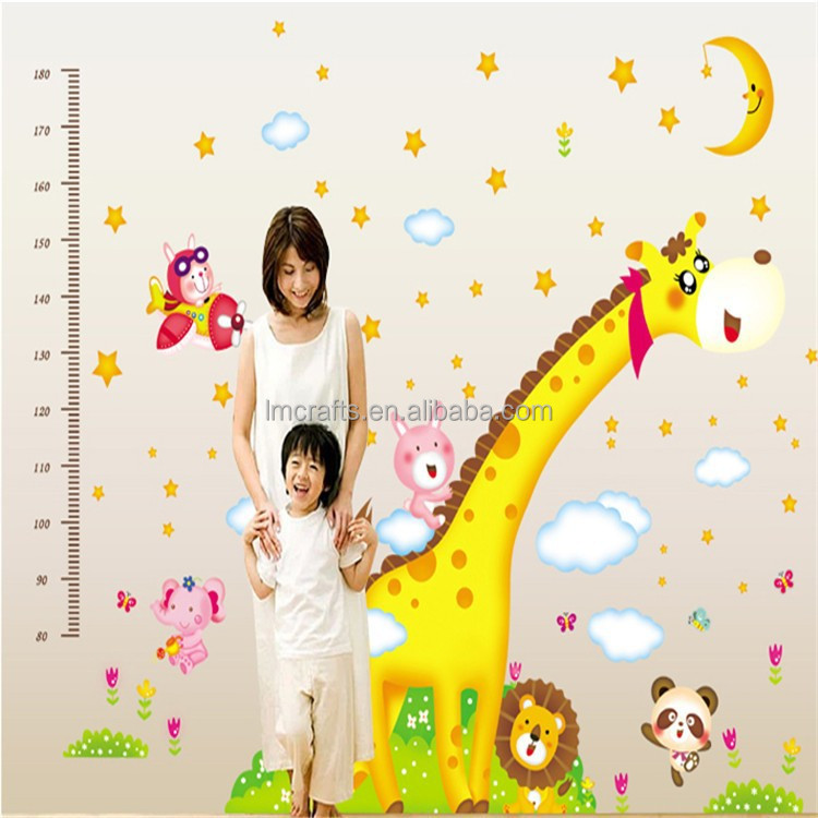 vinyl wall quotes decals art The giraffe height to stick bedroom Child room On Wall Decal Sticker 60 x 90cm AY235